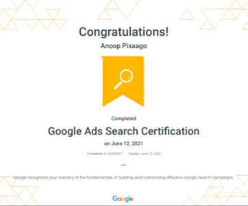 Anoop Google Ads Search Certification